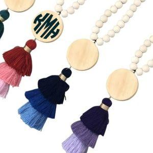 "Jewelry - 🆕️ Monogram necklace 17"" long blue 📿"
